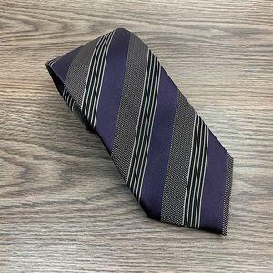 Ermenegildo Zegna NEW Plum Black White Stripe Tie